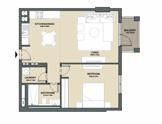 Planning of the apartment 1BR, 794 in Port de La Mer, Dubai