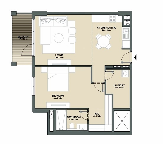 Planning of the apartment 1BR, 947 in Port de La Mer, Dubai