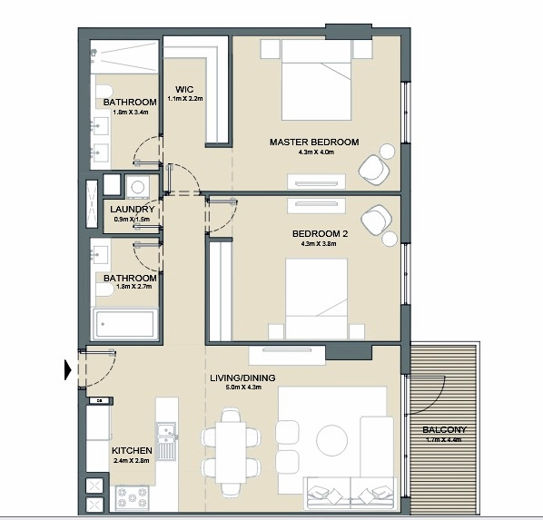 Planning of the apartment 2BR, 1216 in Port de La Mer, Dubai