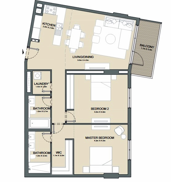 Planning of the apartment 2BR, 1291 in Port de La Mer, Dubai
