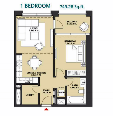 Planning of the apartment 1BR, 749.28 in Vida Za'abeel, Dubai