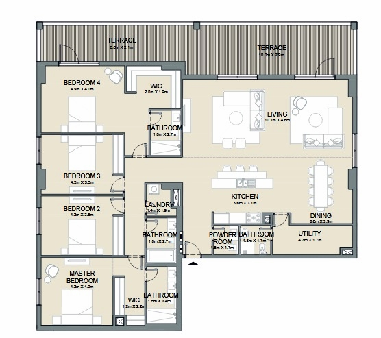 Planning of the apartment 4BR, 3171 in Port de La Mer, Dubai