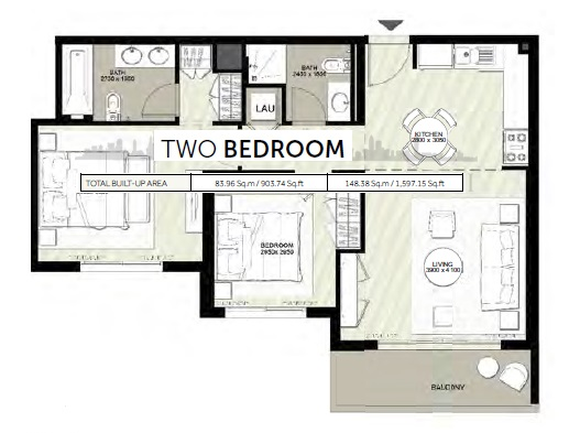 Planning of the apartment 2BR, 1597.15 in Rawda Apartments, Dubai