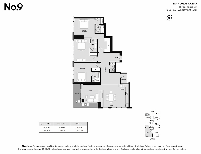 Planning of the apartment 3BR, 1805 in No. 9, Dubai