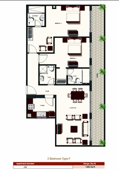 Planning of the apartment 2BR, 1406 in Prime Views, Dubai