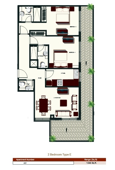 Planning of the apartment 2BR, 1346 in Prime Views, Dubai