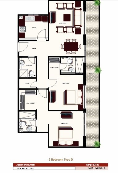 Planning of the apartment 2BR, 1405 in Prime Views, Dubai