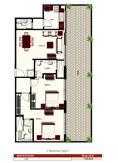 Planning of the apartment 2BR, 1108 in Prime Views, Dubai