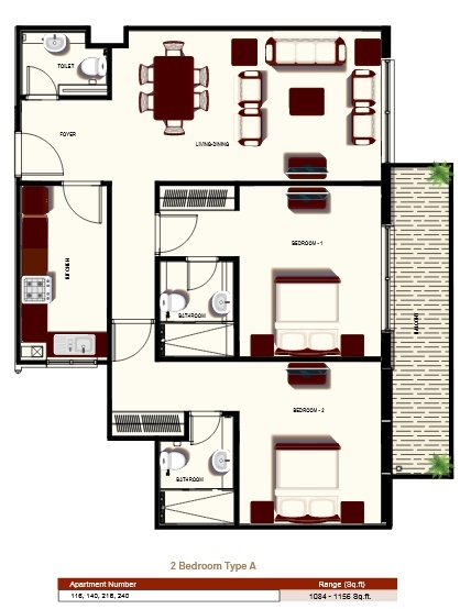 Planning of the apartment 2BR, 1084 in Prime Views, Dubai