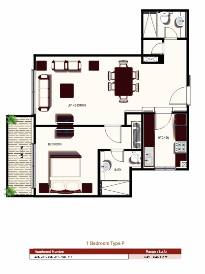 Planning of the apartment 1BR, 841 in Prime Views, Dubai
