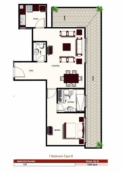 Planning of the apartment 1BR, 1066 in Prime Views, Dubai