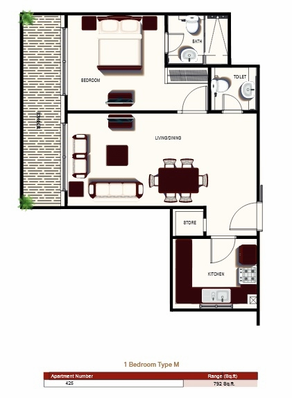 Planning of the apartment 1BR, 792 in Prime Views, Dubai