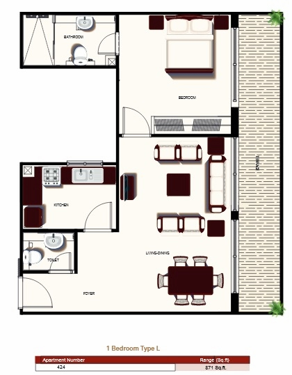 Planning of the apartment 1BR, 871 in Prime Views, Dubai