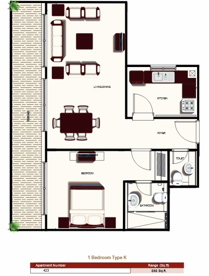 Planning of the apartment 1BR, 898 in Prime Views, Dubai