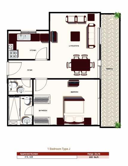 Planning of the apartment 1BR, 800 in Prime Views, Dubai