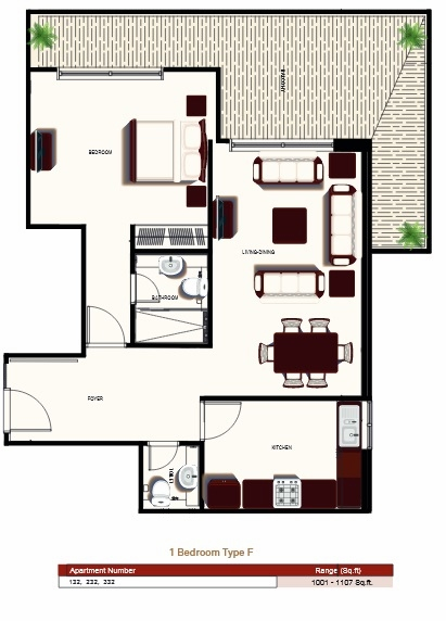 Planning of the apartment 1BR, 1001 in Prime Views, Dubai