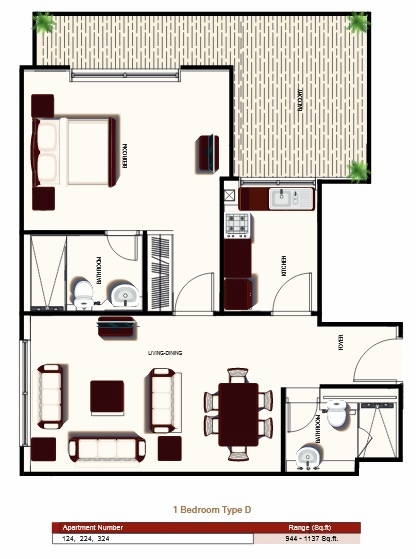 Planning of the apartment 1BR, 944 in Prime Views, Dubai