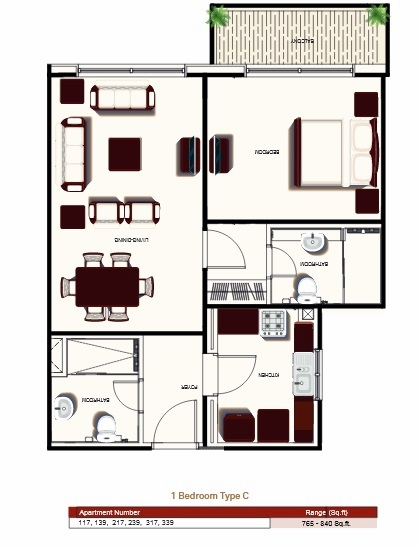 Planning of the apartment 1BR, 765 in Prime Views, Dubai