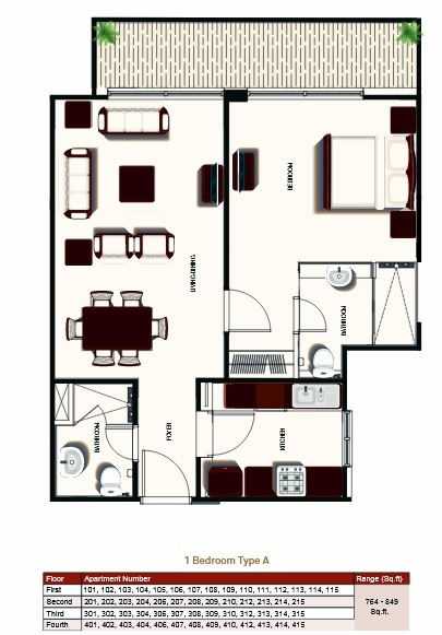 Planning of the apartment 1BR, 818.39 in Prime Views, Dubai