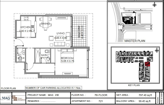 Planning of the apartment 1BR, 797.4 in MAG 230, Dubai