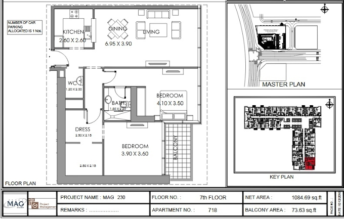 Planning of the apartment 2BR, 1048.7 in MAG 230, Dubai