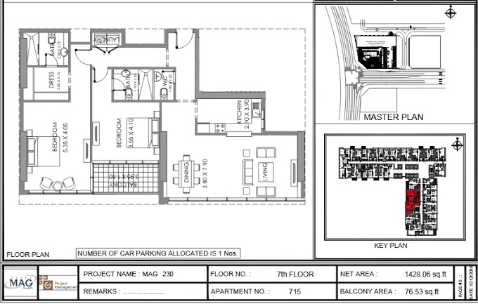 Planning of the apartment 2BR, 1428.1 in MAG 230, Dubai