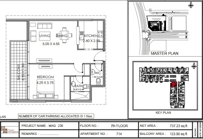 Planning of the apartment 1BR, 737.2 in MAG 230, Dubai