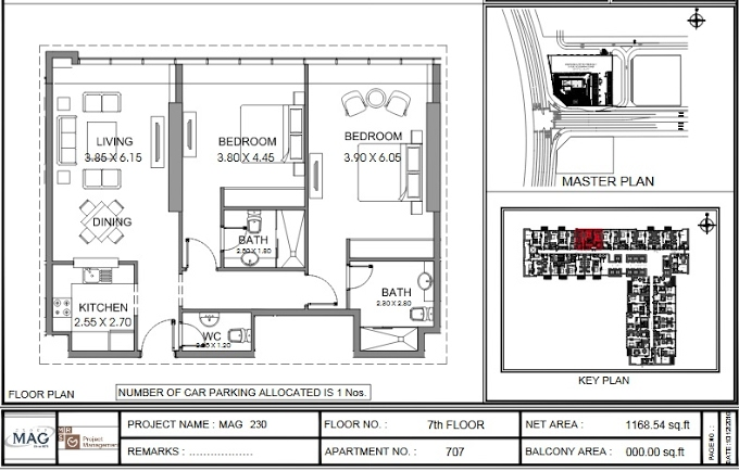 Planning of the apartment 2BR, 1168.5 in MAG 230, Dubai