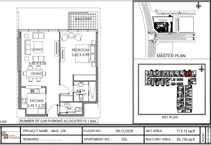 Planning of the apartment 1BR, 713.1 in MAG 230, Dubai
