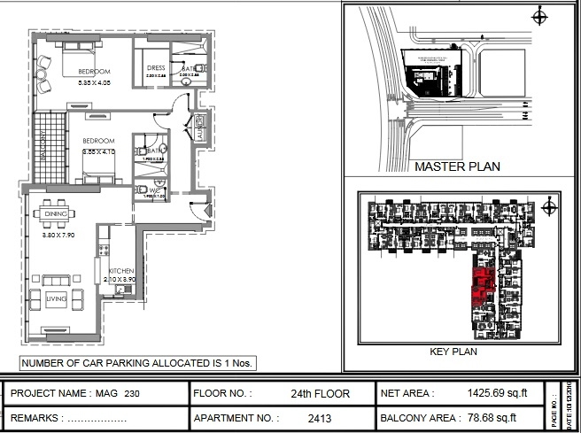 Planning of the apartment 2BR, 1425.7 in MAG 230, Dubai