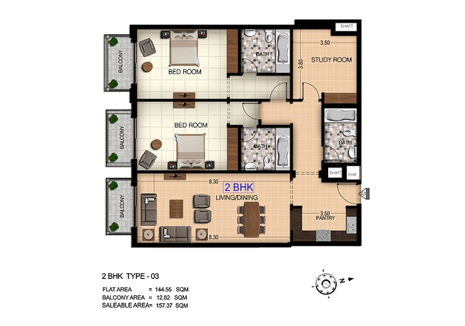Planning of the apartment 2BR, 1690 in Botanica, Dubai