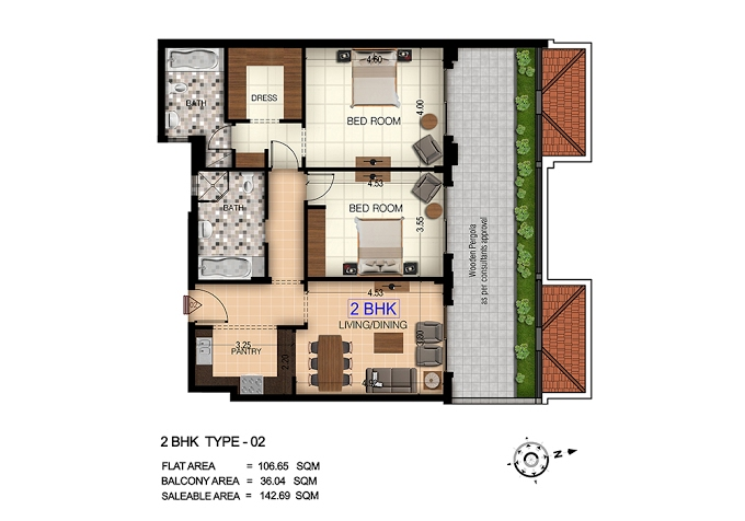 Planning of the apartment 2BR, 1528 in Botanica, Dubai