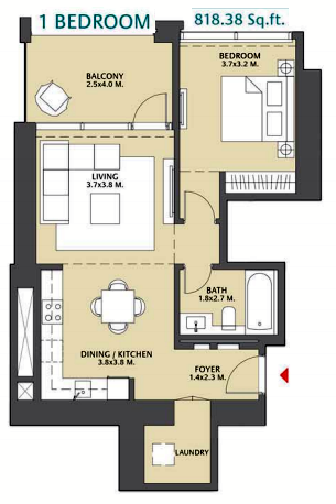 Planning of the apartment 1BR, 818.38 in Vida Za'abeel, Dubai