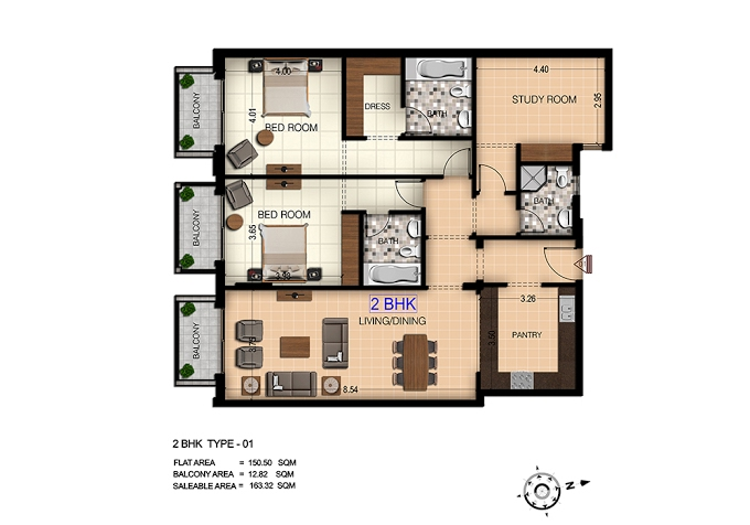 Planning of the apartment 2BR, 1758 in Botanica, Dubai