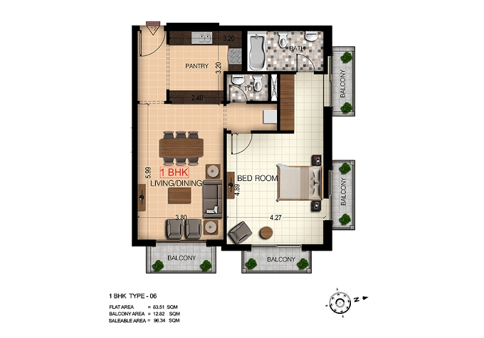 Planning of the apartment 1BR, 1037 in Botanica, Dubai