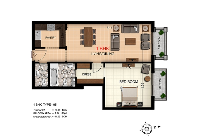 Planning of the apartment 1BR, 980 in Botanica, Dubai