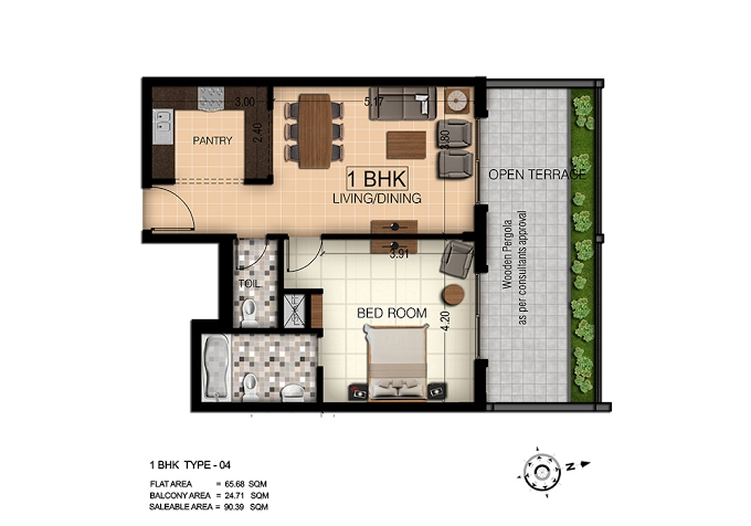 Planning of the apartment 1BR, 973 in Botanica, Dubai