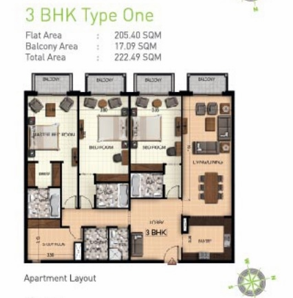 Planning of the apartment 3BR, 2395 in Botanica, Dubai