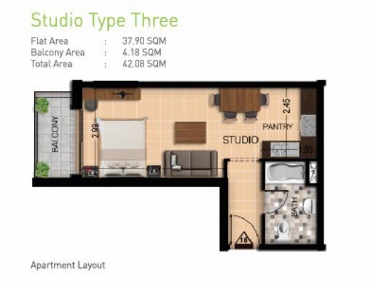 Planning of the apartment Studios, 453 in Botanica, Dubai