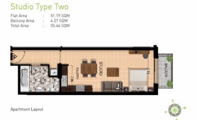 Planning of the apartment Studios, 592 in Botanica, Dubai