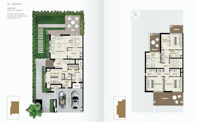 Planning of the apartment Townhouses 4BR, 2683 in Jade The Fields, Dubai