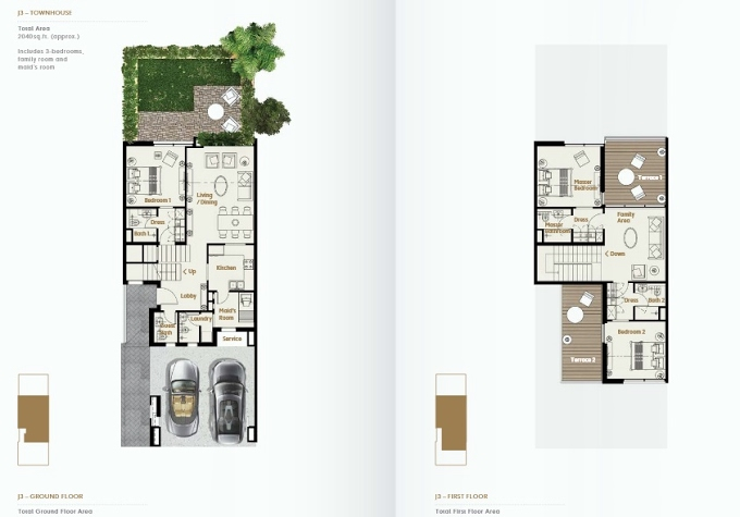 Planning of the apartment Townhouses 3BR, 2040 in Jade The Fields, Dubai
