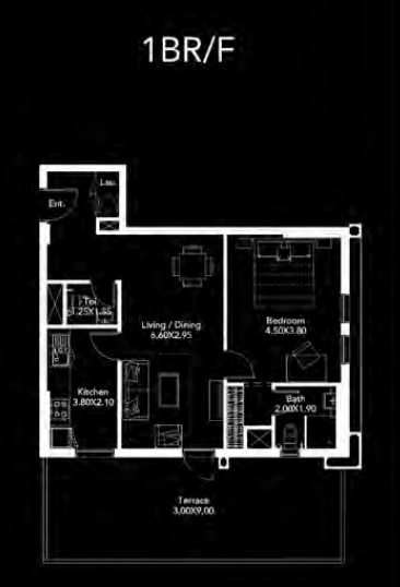 Planning of the apartment 1BR, 1038 in Dania by Deyaar, Dubai