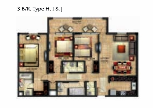 Planning of the apartment 3BR, 1600.53 in Coral Residence, Dubai