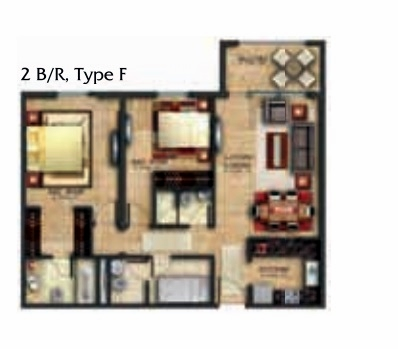 Planning of the apartment 2BR, 1157.47 in Coral Residence, Dubai