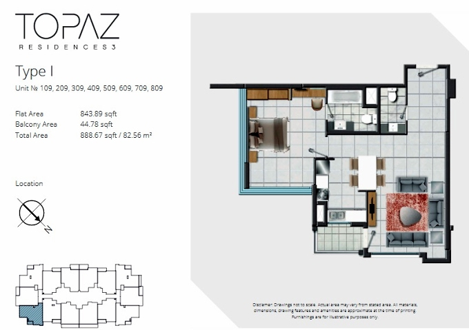 Planning of the apartment 1BR, 888.67 in Topaz Residences, Dubai