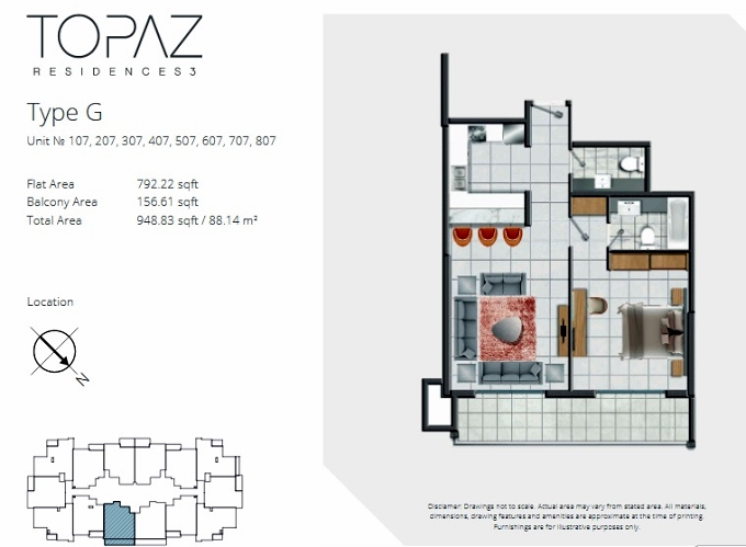 Planning of the apartment 1BR, 948.83 in Topaz Residences, Dubai