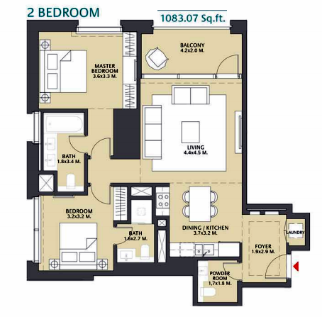Planning of the apartment 2BR, 1083.07 in Vida Za'abeel, Dubai