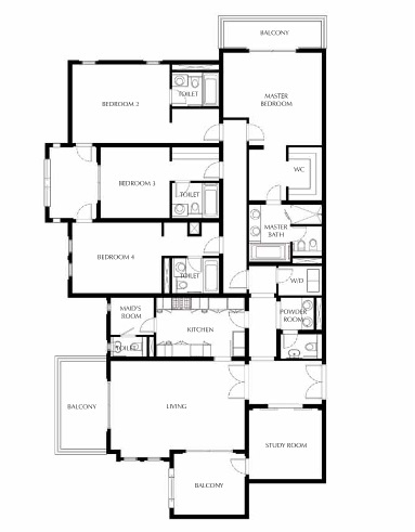Planning of the apartment 4BR, 3144.03 in Saadiyat Beach Residences, Abu Dhabi