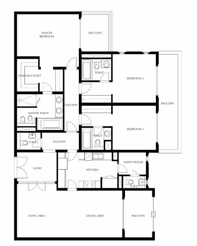 Planning of the apartment 3BR, 2288.23 in Saadiyat Beach Residences, Abu Dhabi